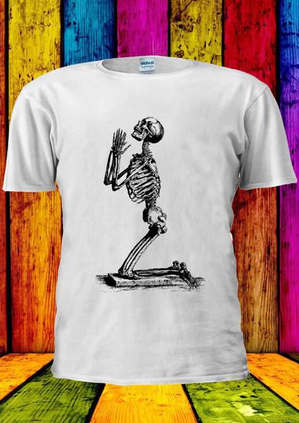 Esqueleto Implorando Crânio Engraçado Tumblr T-shirt Das Senhoras do tanque Top Das Mulheres Dos Homens Unisex 1510 Legal Casual orgulho t shirt homens Unisex Novo