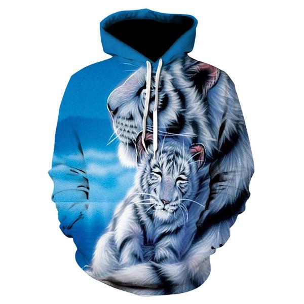 2018 Fall Winter 3D Animal Print Hoodies Sweatshirts Fashion Pullover Hooded Sweatshirt For Men Plus Size S-6XL