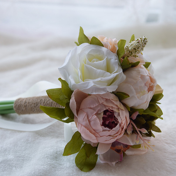 Artificial Cheap Wedding Bouquets For Bride Silk Hand Holding Flowers Handmade Wedding Bridal Bouquet Accessories White Rose CPA1565