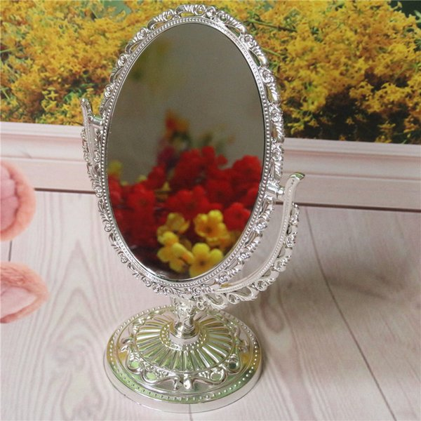 1PCS Plated Plastic Gold Sliver Table Mirror Double Side Mirror Oval Retro Cosmetic Makeup Desktop For Wedding Gifts