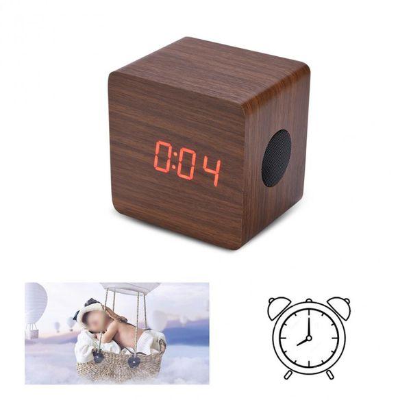 VBESTLIFE Wooden Bluetooth Bass Speaker Alarm LED Clock Alarm Thermometer Display 2*3W Amplifier Output Power Louderspeaker