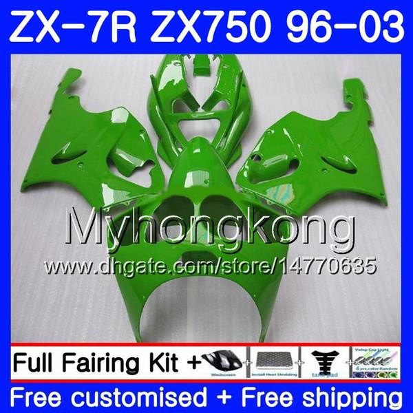 Corpo para KAWASAKI NINJA ZX-7R ZX750ZX 7R 00 01 02 03 203HM.44 ZX-750 ZX 7 R ZX 750 ZX7R 1996 2000 2001 2002 2003 Luz Verde novo Carenagens