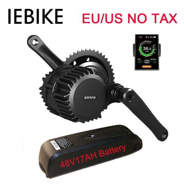 EU US No Tax BBS02 48V 500W Bafang Mid Drive Electric Motor E Bike Kit with 48V 17Ah Li-ion Battery Electric Bike Conversion Kit