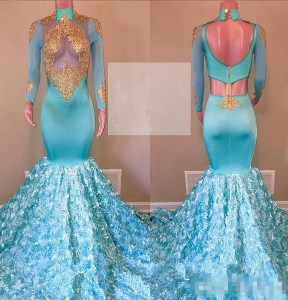 Dubai Arabi Mermaid Evening Dresses With High Neck Gold Appliques See Through Long Sleeves Prom Dress Rose Train Sexy Cocktail Gowns