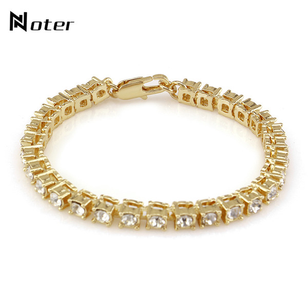 Noter Luxury Cubic Zirconia Tennis Bracelet Charms Gold Silver Color Hip Hop Braclet For Mens Women Rock Jewelry Pulsera