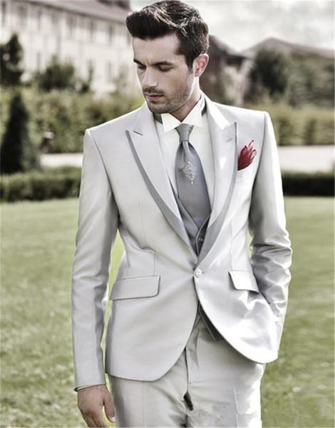 New Style CustomizeOne Buttons sliver grey Groom Tuxedos Peak Lapel Best Man Groomsmen Men Wedding Suits( jacket+Pants+vest+tie)