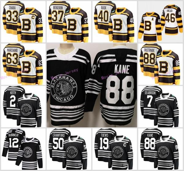 2019 Winter Classic Chicago Blackhawks Boston Bruins Toews DeBrincat Patrick Kane Seabrook Crawford Pastrnak Bergeron Marchand hockey jersey