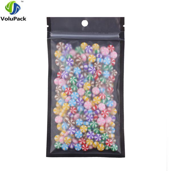 10x18cm/ 4x7in 100pcs Tear Notch Matte Clear/ Black/ Black Self Seal Mylar Plastic Storage Bag Flat Zip Lock Packing Bags
