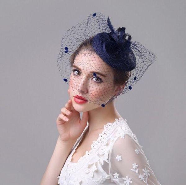 Sinamay Black Royal Blue Church Women Wedding Hair Pin Bridal Formal HAT with Veil Party Birdcage Kentucky Derby Fascinators