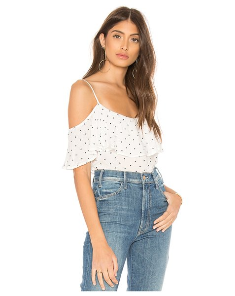 best selling Simple Bohemian Wave Dot Print Top Sexy Off Shoulder Ruffled Thin Strap T-Shirt Female