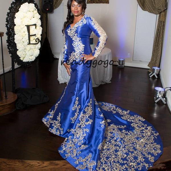 Tallas grandes de la sirena Prom Prom vestidos con manga larga 2018 Modest 3D trompeta de encaje floral vestidos de noche africanos nigerianos