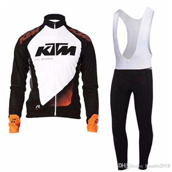 2019 KTM Radfahren Jersey Bike Kleidung Langarm Shirt Trägerhose Set Männer Fahrradbekleidung MTB Maillot Ropa Ciclismo Hombre G0702