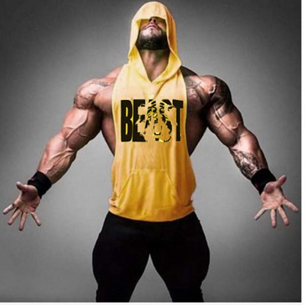 Gyms Brand clothing Bodybuilding Fitness Men Tank Top workout BEAST print Vest Stringer sportswear Undershirt Hoodies