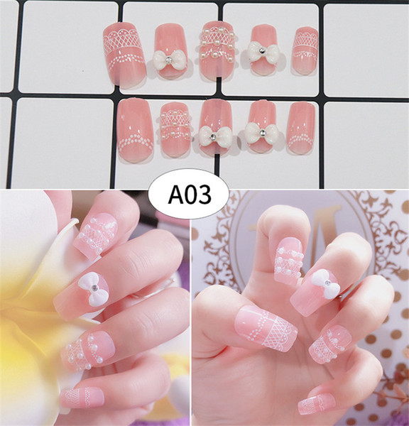 Fashion 3D Fake Nails False Nail Plastic Nail Art Tips Full Cover false french nail art tips Bride Finger Beauty