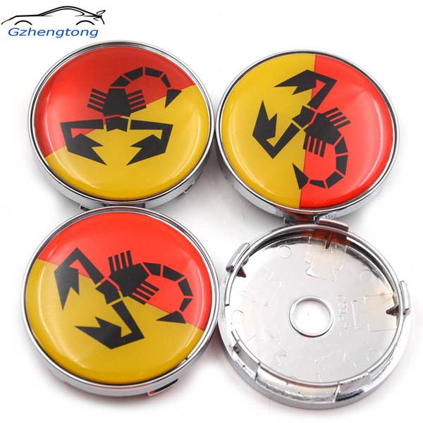 Gzhengtong 4pcs/Set Sliver Caps 60mm Car Emblem Wheel Hub Caps Centre Cover Caps Yellow Red Scorption Logo for Abarth 500