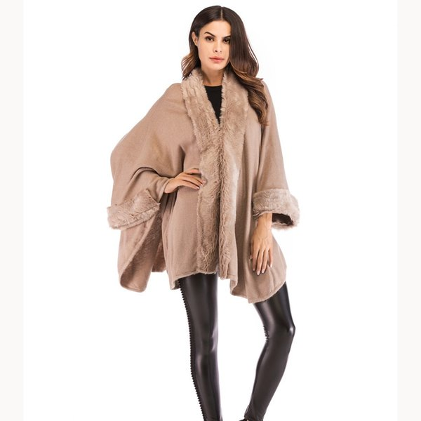 Winter Loose Women Knit Sweaters Cardigan Coat Cardigans Ladies Batwing Sleeve Ponchos Capes Casual Fur Collar Faux Fur Sweater