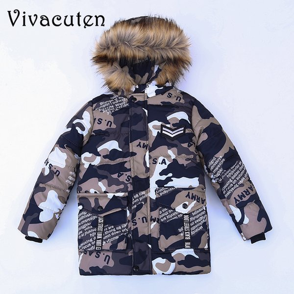 Children Teenage Boys Camouflage Parka Down Jacket Coats with Faux Fur Hooded Winter Warm Thick Cotton Padded Coats Kids Clothes