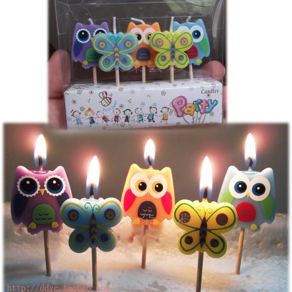 High quality birthday candle Butterfly bird cute cartoon creative friends children owl painted