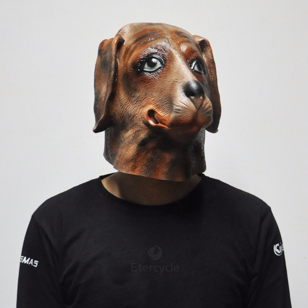 2018 Hot Sale Brown Dog Latex Mask Halloween Scary Mask Animal Cosplay Props for Kids