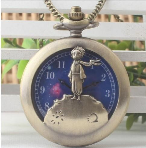 Hot Classic The Little Prince Movie Planet Blue Bronze Vintage Quartz Pocket FOB Watch Popular Gifts for Boys Girls Kids