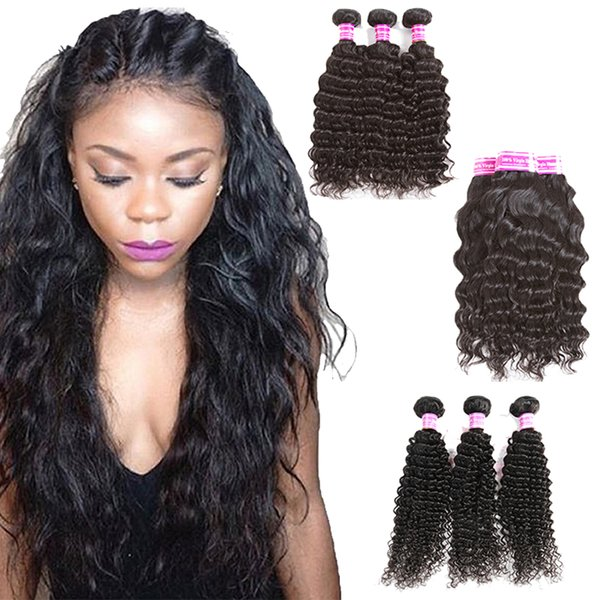 8A Top Malaysian Brazilian Virgin Hair Weaves Deep Water Wave Kinky Curly 5pcs Or 6pcs Lot Peruvian Remy Human Hair Extensions Wefts