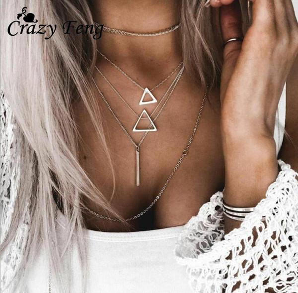 GUVIVI Bohemian Vintage Multiple Layered Necklace Boho Jewelry Triangle Pendant Tassel Chain Necklace For Women Fashion Choker