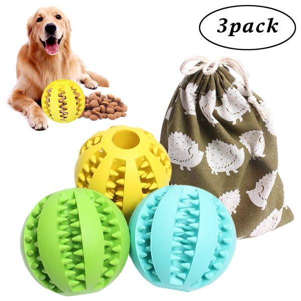 Köpek Kauçuk Molar Topu Çiğnemek Oyuncak Köpek Maması Besleyici Besleyici Köpek Interaktif Oyuncaklar Topu Çeşitli Renkler 3 Adet Çanta * 1
