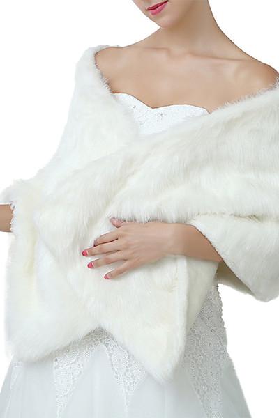 Yeni Moda 2018 Yeni Gelin Sarar Şallar Faux Kürk Şal Ceket Düğünler Için Fildişi Kırmızı Siyah Kış Sıcak Gelin Ucuz 160 cm * 30 cm CPA1495