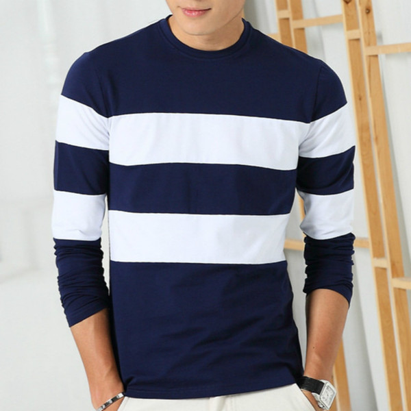 42619f61 Liseaven 2017 New Autumn Winter Mens Long Sleeve T Shirt O Neck Striped T  Shirt for