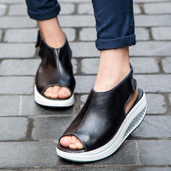 2018 sommer Frauen Sandalen Casual Peep Toe Schaukel Schuhe Dame Platform Wedges Sandalen Spaziergang Schuhe Frau Schwarz