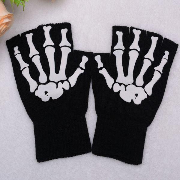 Black punk Halloween skeleton sweater Sexy Disco dance costume party fingerless short gloves arm warmer free shipping