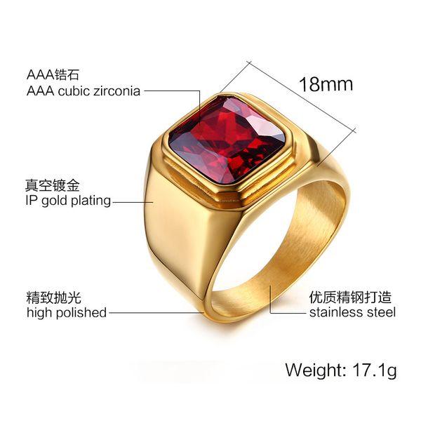 Fashion simple trend 18K gold ring mosaic single Mini red gem decoration titanium steel ring manufacturers direct batch