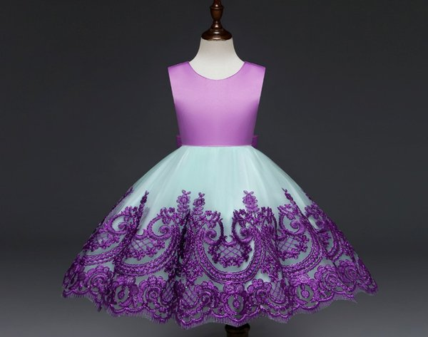 new baby girl dresses fashion Princess 2018 Halloween Party Dress Hollow Out bow tie embroidery Lace Dresses Ball Gown Birthday TuTu Dresses