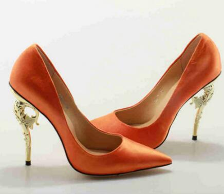 2018 Metal Embellished Women Pump Wedding Party Shoes High Heel Pointed Toe Shoe Sexy Lady Pumps Stiletto Gold Sliver Heel
