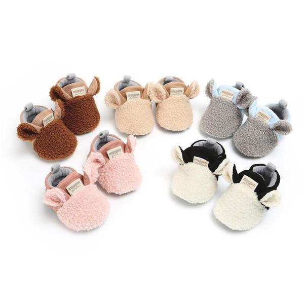 Милые уши животных decro детские теплые ботинки детские мальчики девочки осень зима теплее первые ходунки комнатная обувь мягкая подошва противоскользящая