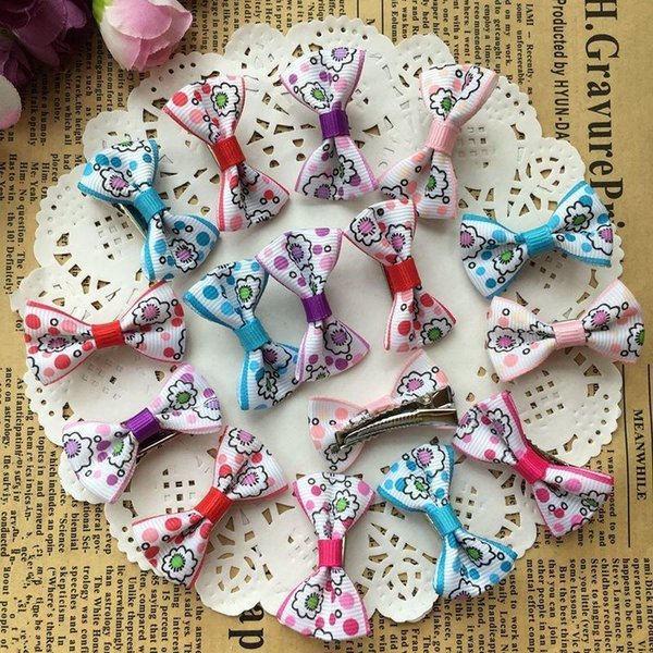100pcs Pet Hair Bows Dog Accessories Small Bowknot with Tiny Alligator Clips Pet Grooming Products Puppy Dog Hair Clips