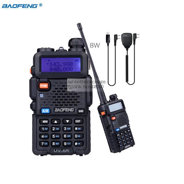 Baofeng UV-5R 8W High Power VHF/UHF 136-174/400-520MHz Dual Band FM True Two-way Ham Radio Walkie Talkie +MIC+Programming
