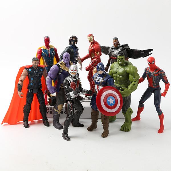 Avengers 3 Infinity Savaş Hulk / Demir Adam / Örümcek Adam / Thanos / Vizyon / Kaptan Amerika / Karınca Adam / Thor / Loki PVC Action Figure Set Çocuk Oyuncakları