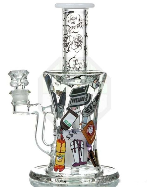 Hitman Glass Bongs Stickers Cool Glass Water Pipes Smoking Pipes Liquid Bubbler 2 Function Heady Chamber Smooth Piece 14 mm Joint