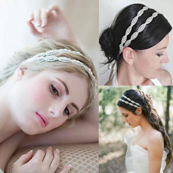 Haute qualité luxe strass perle mariée bande de cheveux front tiare mariage accessoires de mariée Deux couches coiffes livraison gratuite