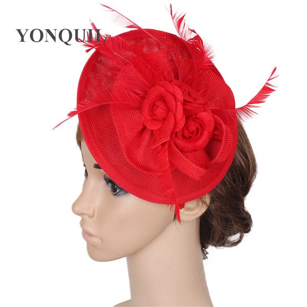 NEW ARRIVAL 15colors select red imitation sinamay fascinator hats feather wedding headwear occasion Church hat bridal hair accessories SYF31