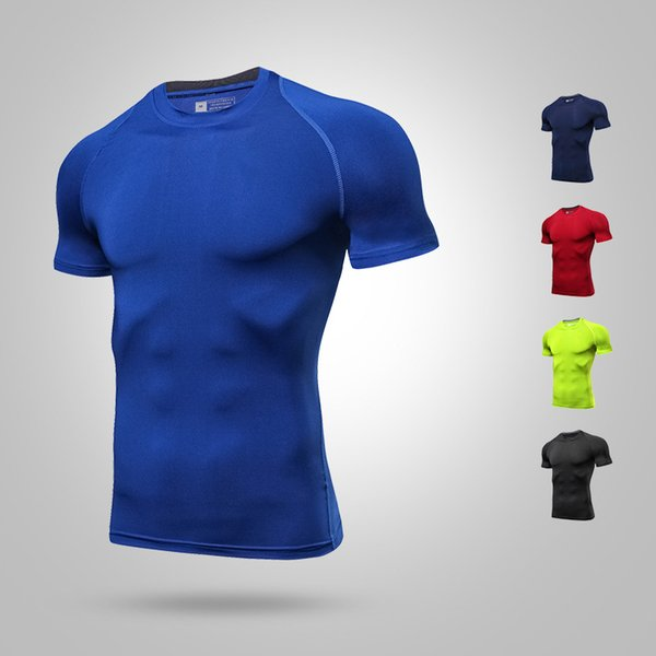 Men &#039 ;S Fast Dry Clothes Short Sleeved Sports High Elastic Tights Breathable Round Neck Fitness Tunning T Shirt