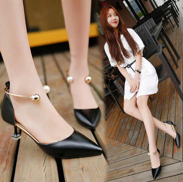 New Women High Heels Woman PU Leather Mid High Heels Pointed Corset Work Pumps Court Dress Shoes