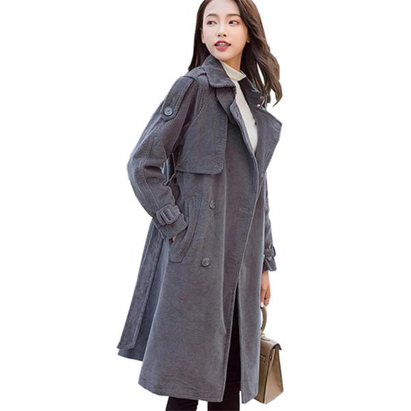 Nuovo Autunno Inverno Donna Cappotti Trench di velluto a coste Moda monopetto Cintura Slim Capispalla Donna Trench Overcoat