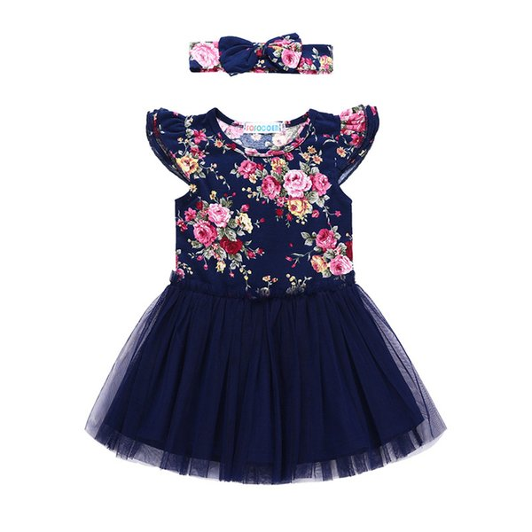 Girls floral dresses outfits 2pc set bow headband+flare short sleeve lace dresses baby kids flower skirt summer clothing