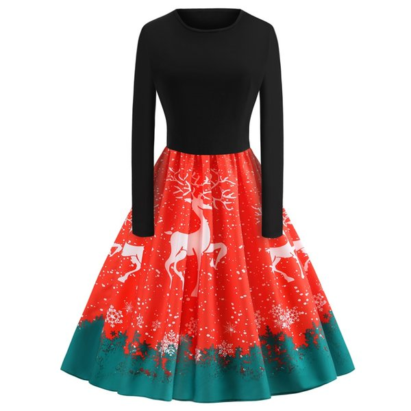 Ball Gowns Vintage Deer Print Christmas Party Dresses for Women Winter Crew Neck Long Sleeve Casual Dress