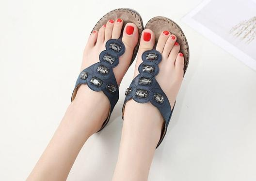 Europe and America, new style, women's sandals, bohemia, nubuck leather, glass drill, large size, flat shoes, slippers, TPR soles