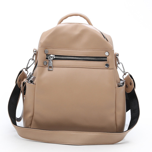 wholesale 2018 Vintage Simple Soft Leather Backpack Female Small Fashion Back Pack School Bagpack Solid Zip White Brand Designer