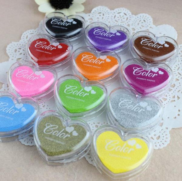 Colorful Heart Shape Inkpad Finger Paint Cartoon Inkpad Ink Stamp Ink Pad for DIY funny Work Photo Album Scrapbooking