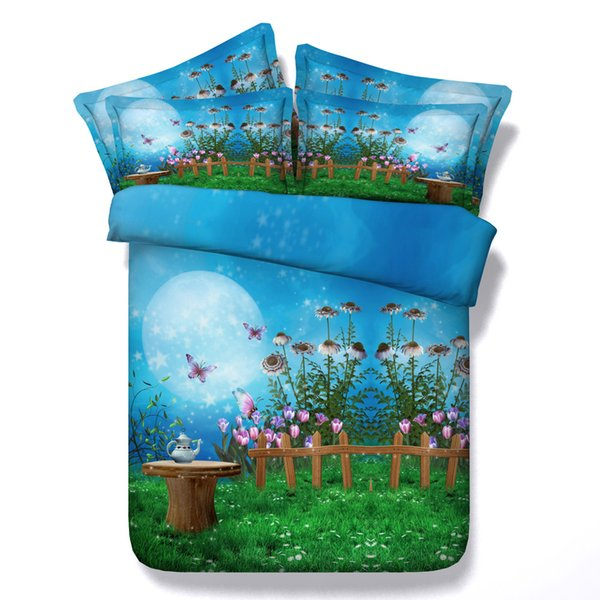 3D galaxy moon floral Duvet Cover bedding sets queen Bedspreads Holiday Quilt Covers Bed Linen Pillow Covers butterfly rose yellow blue red